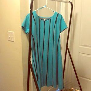 Shortsleeved Aqua blue Aline dress w/ navy stripes